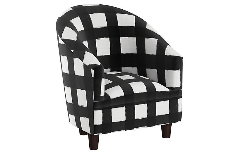 Ashlee Kids' Chair, White/Black Linen