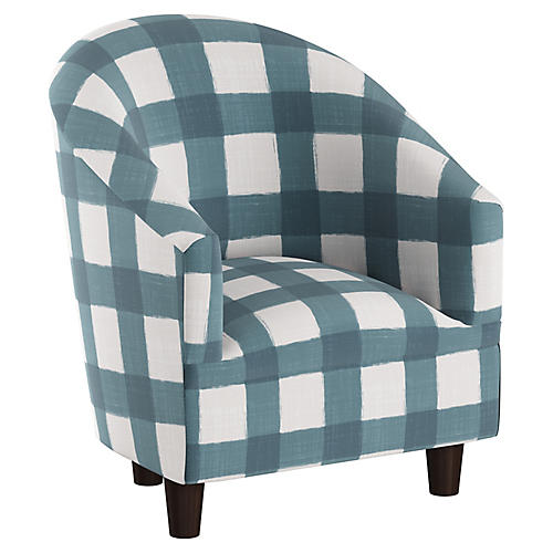 Ashlee Kids' Barrel Chair, Blue/White Linen