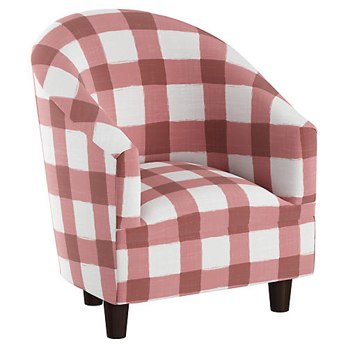 Ashlee Kids' Barrel Chair, Pink/White Linen