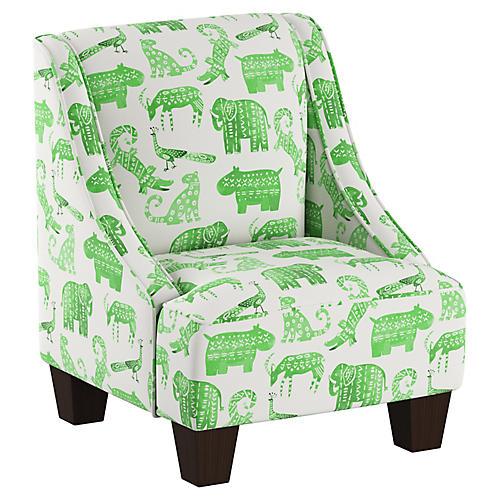 Fletcher Kids' Accent Chair, Green Animal Linen