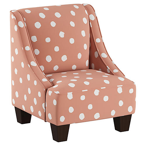 Fletcher Kids' Accent Chair, Coral/White Linen