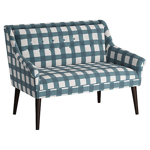 Bella Tufted Settee, Blue Gingham