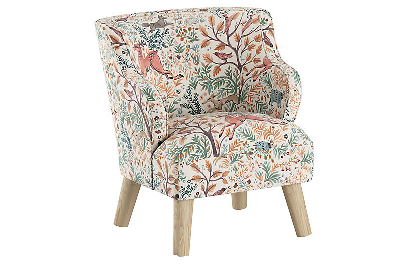 Kira Kids' Accent Chair, Pink Frolic Linen
