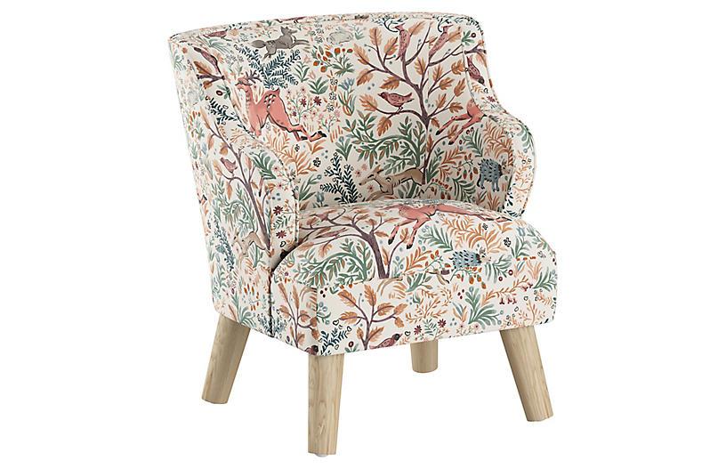 Kira Kids' Accent Chair, Pink Frolic Linen
