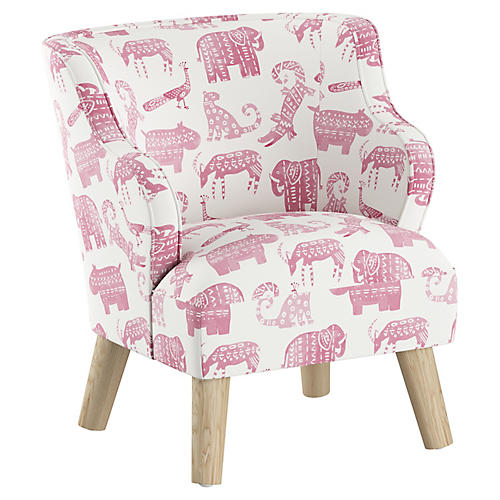 Kira Kids' Accent Chair, Pink Linen