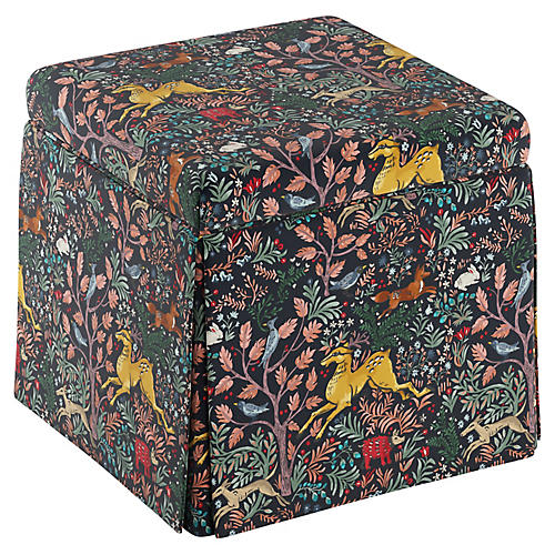 Anne Kids' Storage Ottoman, Navy Linen