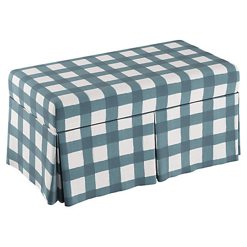Anne Skirted Storage Bench, Blue Gingham Linen