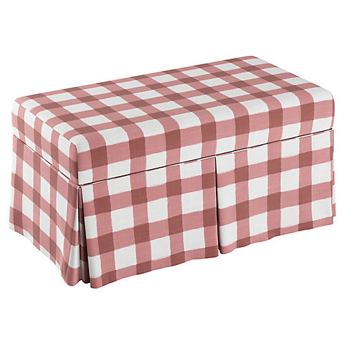 Anne Skirted Storage Bench, Pink Gingham Linen