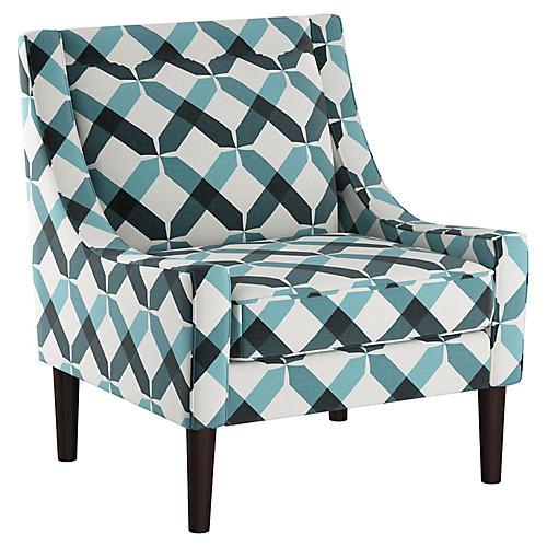 Scarlett Accent Chair, Teal Cross Linen