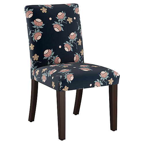 Shannon Side Chair, Navy Linen