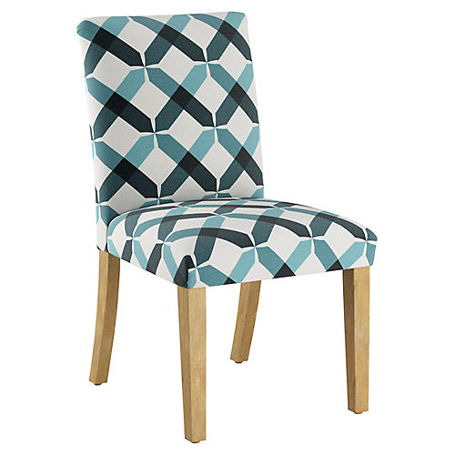 Shannon Side Chair, Teal Linen