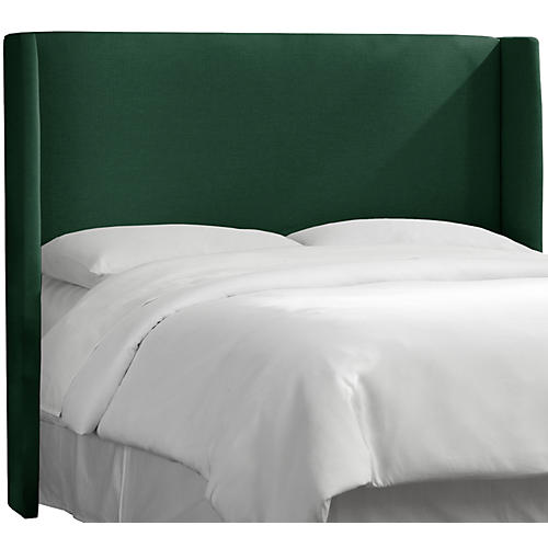 Kelly Wingback Headboard, Forest Green Linen