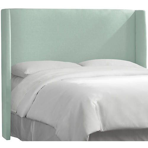 Kelly Wingback Headboard, Mint Linen