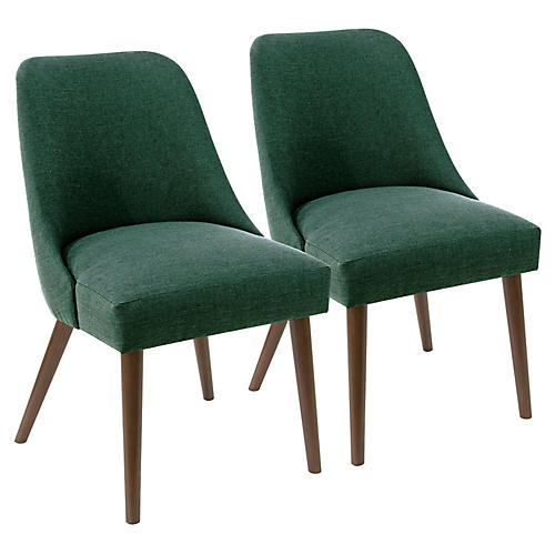 S/2 Barron Side Chairs, Forest Linen