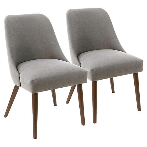 S/2 Barron Side Chairs, Gray