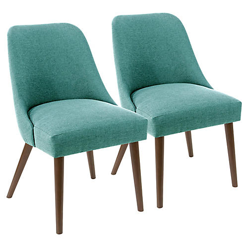 S/2 Barron Side Chairs, Teal