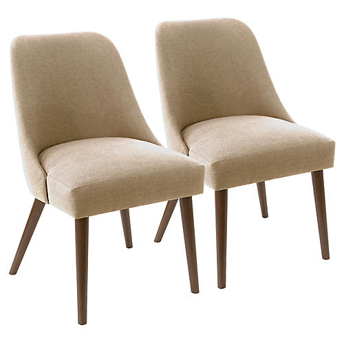 S/2 Barron Side Chairs, Sand Linen