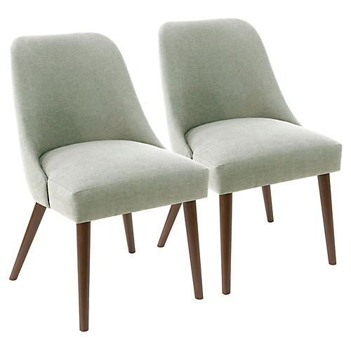 S/2 Barron Side Chairs, Mint Linen
