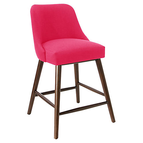 Barron Counter Stool, Fuchsia Linen