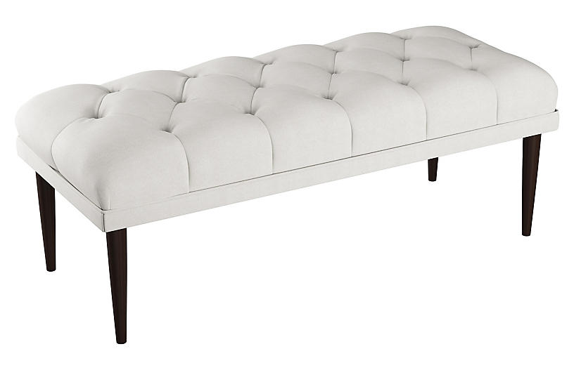 Carrie Tufted Bench, White