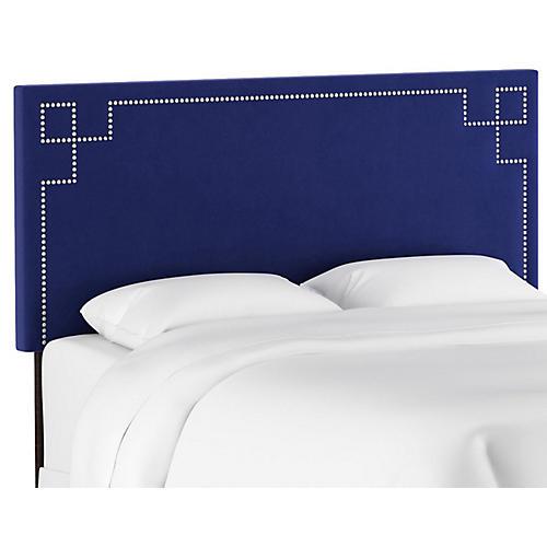Aiden Headboard, Blue Velvet