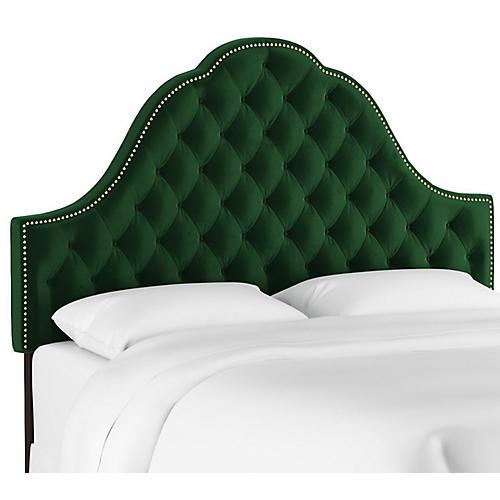 Alina Tufted Headboard, Emerald Velvet
