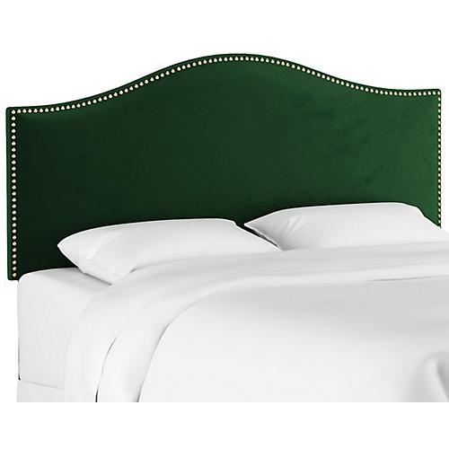 Tallman Nailhead Headboard, Emerald Velvet