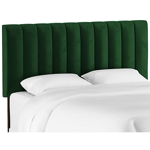 Delmar Channel Headboard, Emerald Velvet