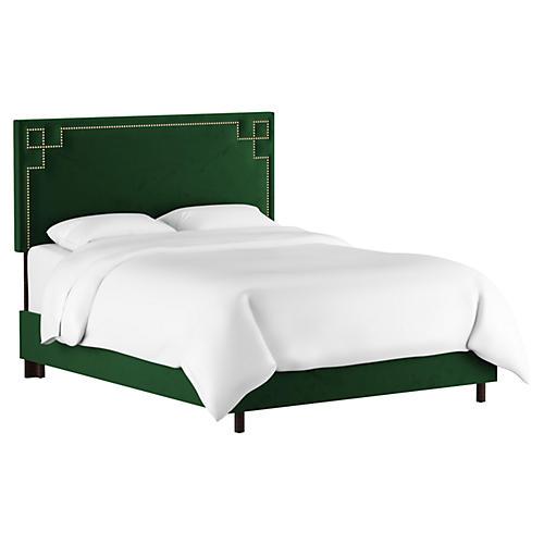 Aiden Bed, Emerald Velvet