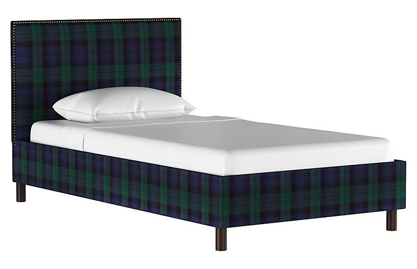 Loren Bed, Navy Plaid