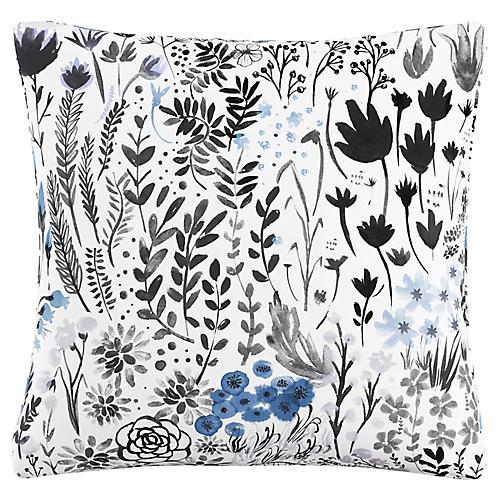 Spencer 20x20 Pillow, Botanical Blue Linen