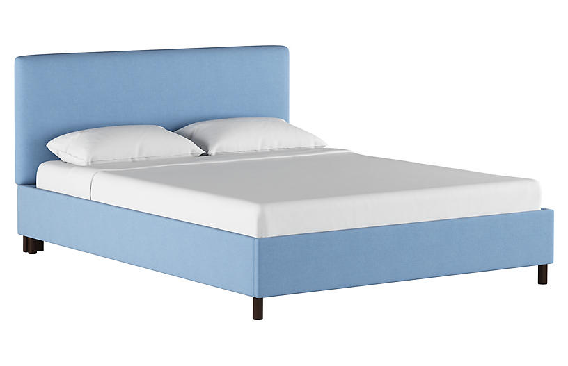 Novak Platform Bed, Light Blue Linen