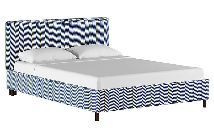 Novak Platform Bed, Navy/White Linen