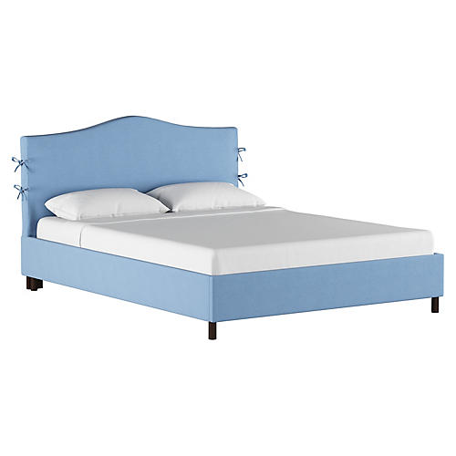 Eloise Slipcover Platform Bed, Light Blue Linen