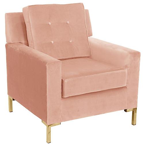 Winston T Leg Club Chair, Pink Velvet