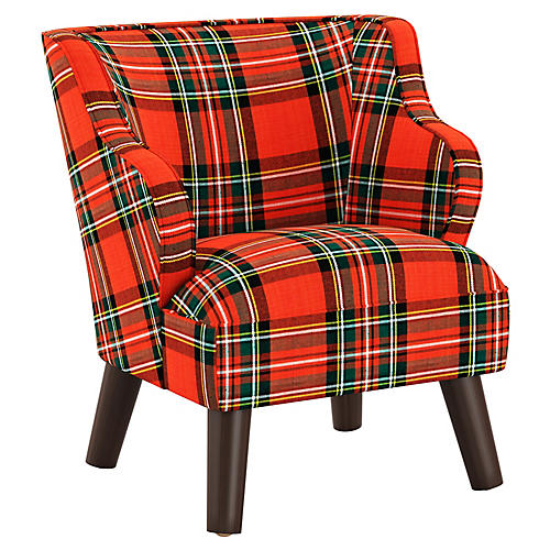 Kira Kids' Accent Chair, Red/Green