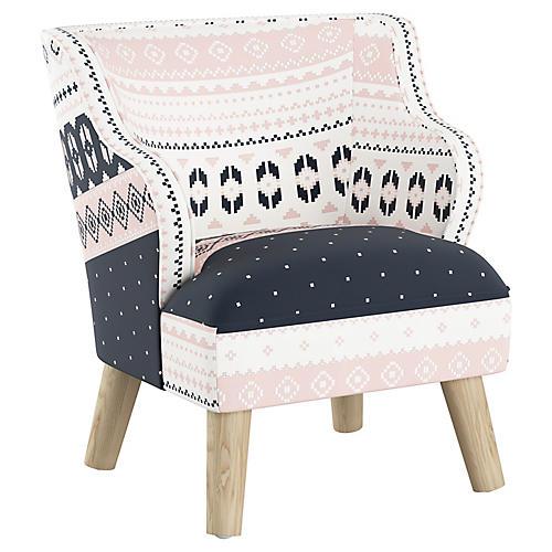 Kira Kids' Accent Chair, Blush Fair Isle Linen