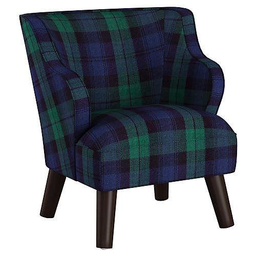 Kira Kids' Accent Chair, Navy/Multi
