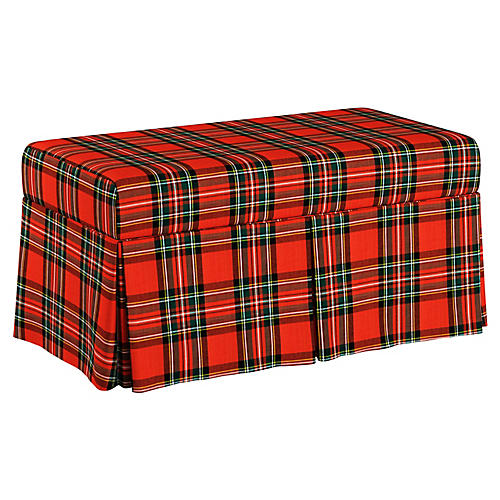Anne Skirted Storage Bench, Red/Green