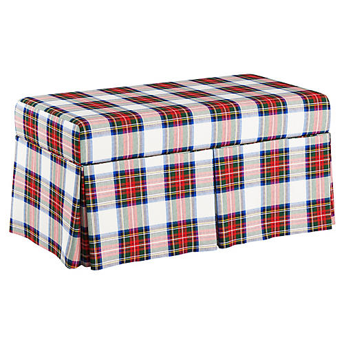 Hayworth Skirted Storage Bench, White/Multi