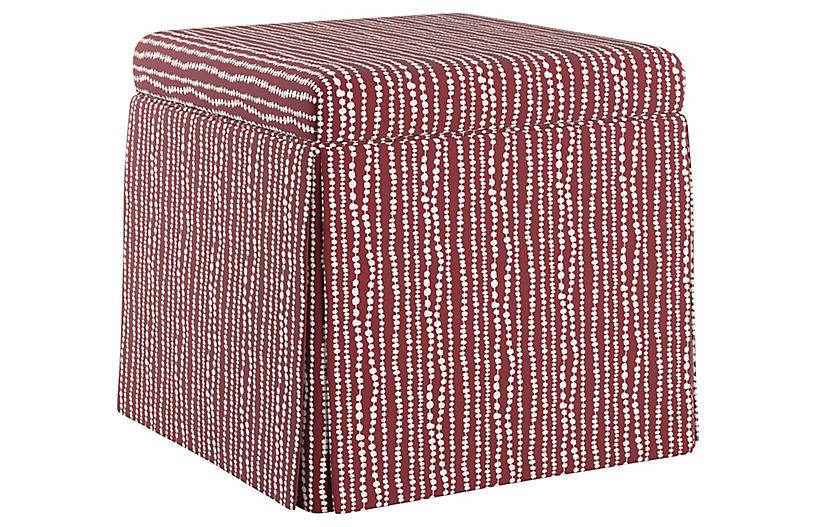 Anne Skirted Storage Ottoman, Red/White Linen