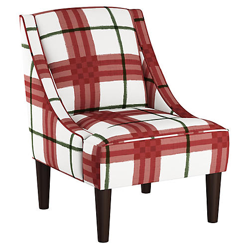 Quinn Swoop-Arm Accent Chair, Red/Green