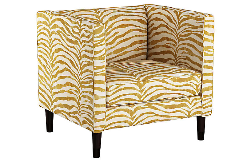 Huey Club Chair - Ochre Zebra