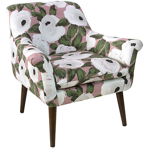 Harmon Accent Chair, Pink/White Linen