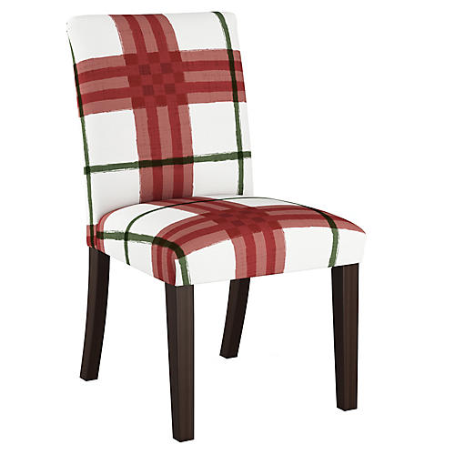 Shannon Side Chair, Red/Green Plaid