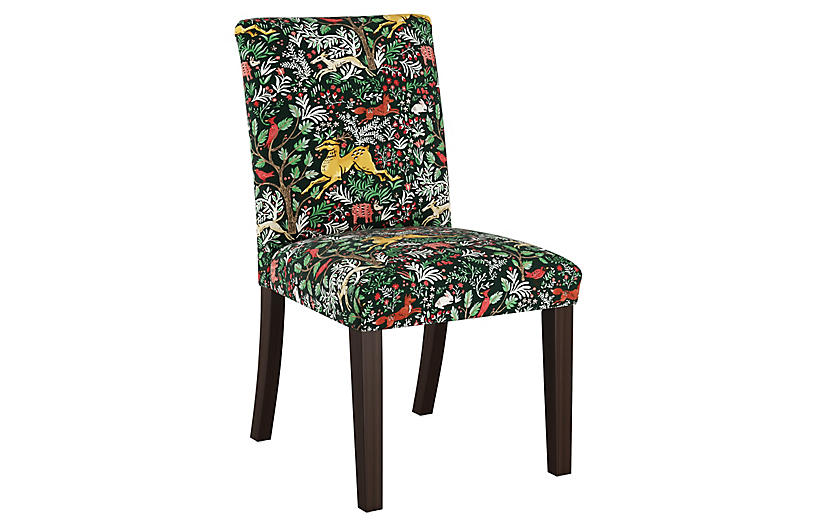Shannon Side Chair, Evergreen Frolic Linen