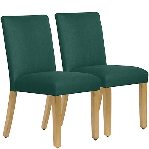 S/2 Shannon Side Chairs, Forest Green Linen