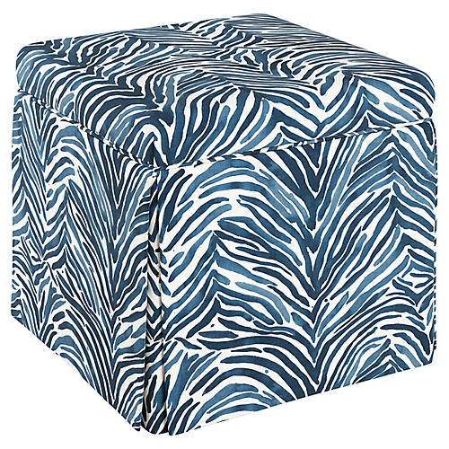Anne Skirted Storage Ottoman, Blue Linen