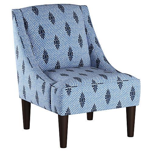 Quinn Swoop-Arm Chair, Indigo Stripe