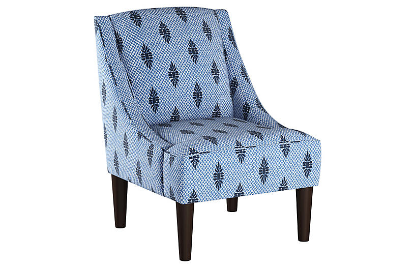 Quinn Swoop-Arm Accent Chair, Boca Medallion